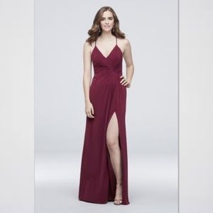 Drapey Jersey V-Neck Sheath Gathered Waist Dress